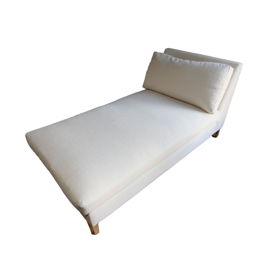 White Linen Chaise Lounge Chair Ebth