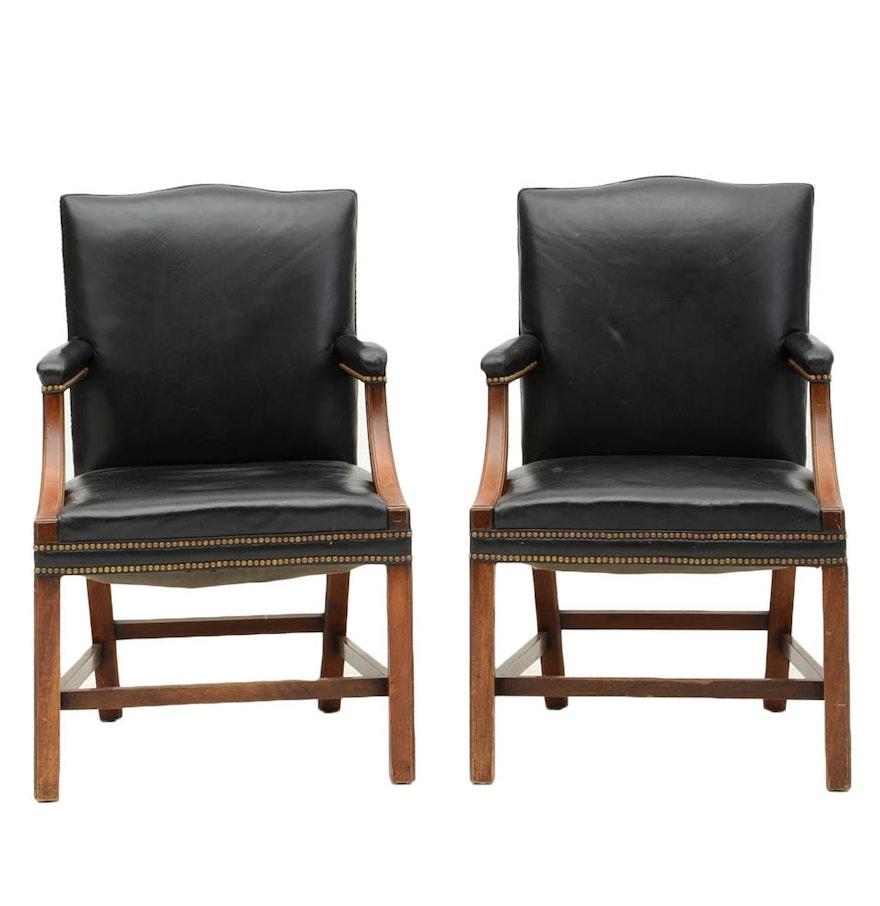 Black leather club chair nailhead - Pair Of Black Leather Arm Chairs With Nailhead Trim