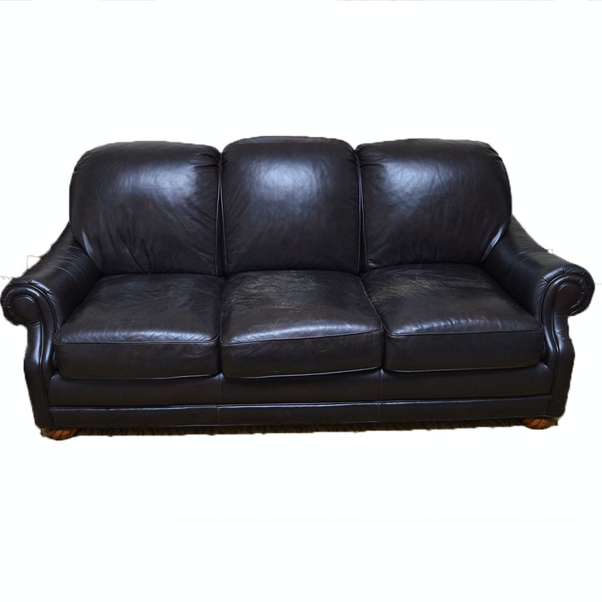 Plush Leather Sofa By Thomasville