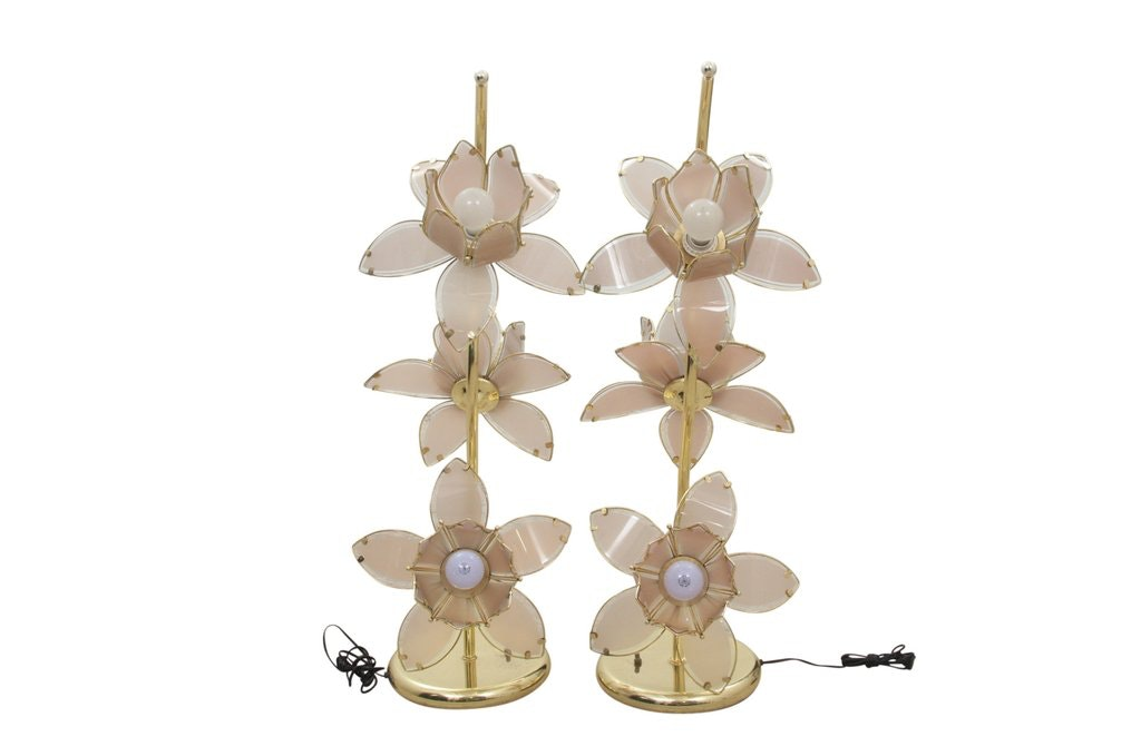Pair Of Lily Flower Brass And Glass Floor Lamps Ebth