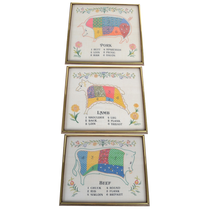 3423b74e0f3faa Vintage Framed Embroidery and Appliqué Butcher Chart Designs   EBTH