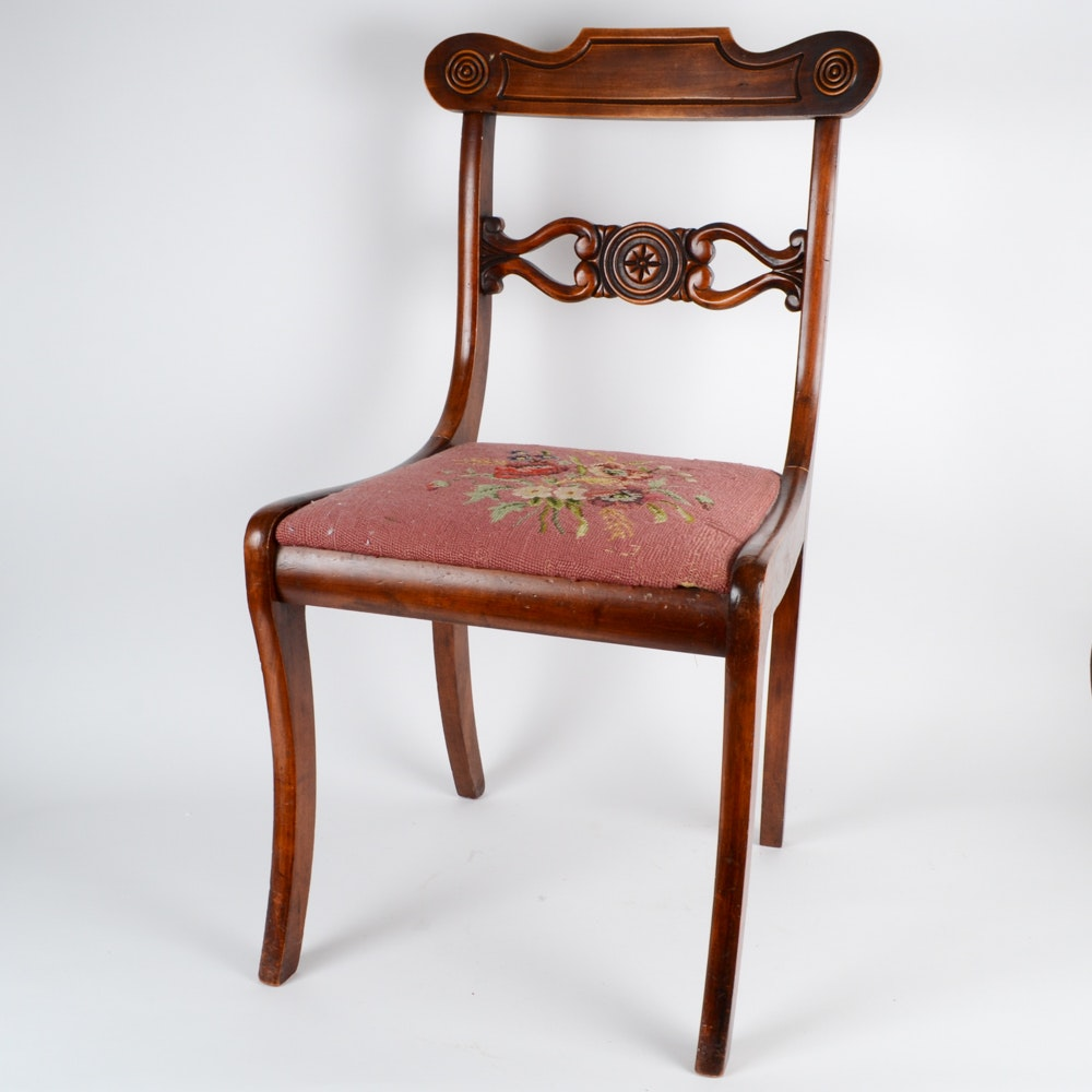 Vintage Wooden Side Chair With Needlepoint Seat ...
