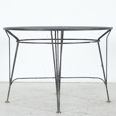Wrought iron mesh patio table and four chairs ebth for Metal patio table and 4 chairs