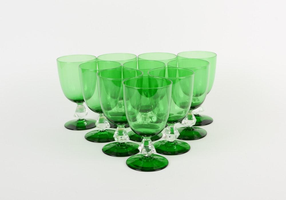 Green Glass Stemware