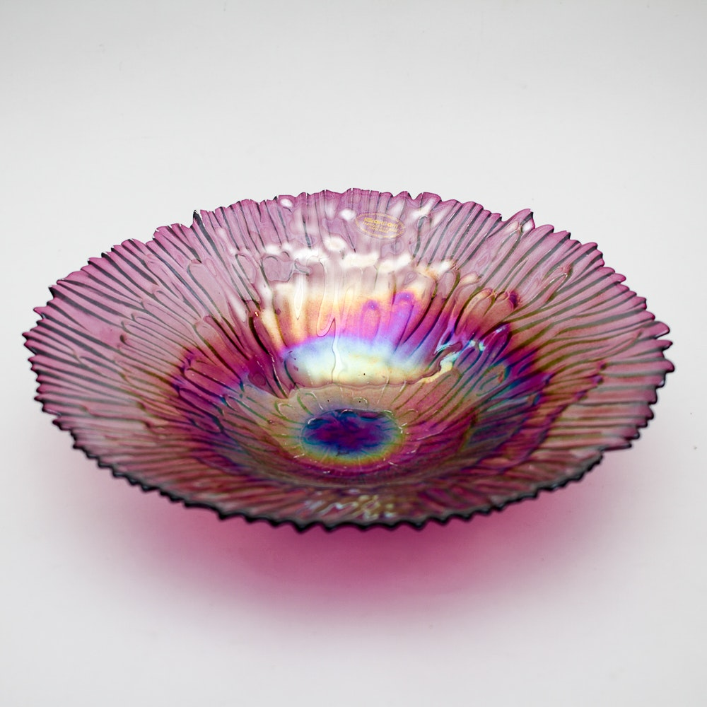 Handmade Turkish Ackam Purple Iridescent Art Glass Bowl