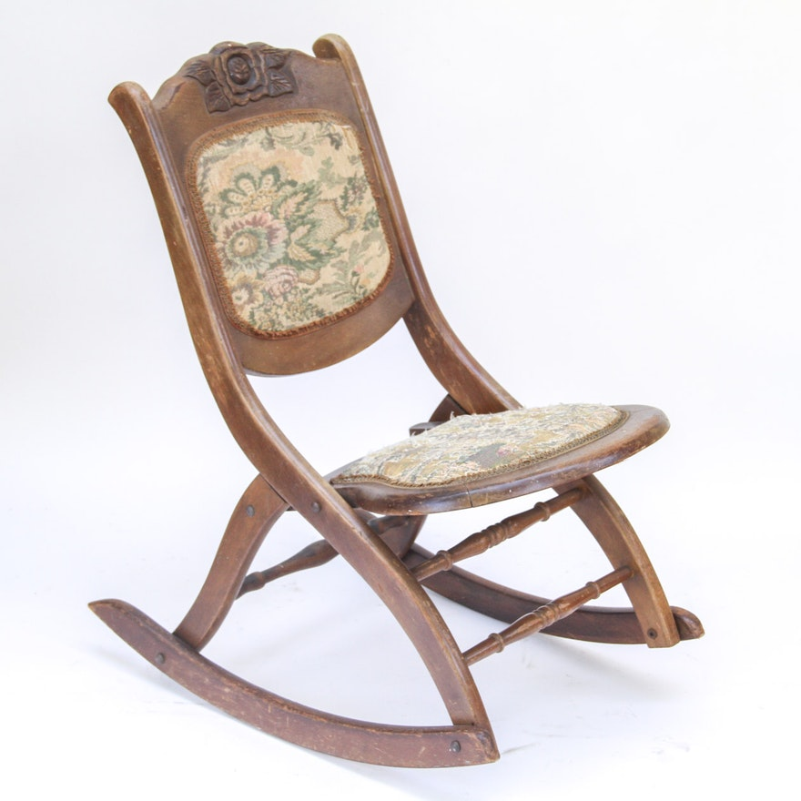 Terrific Antique Victorian Folding Rocking Chair Pdpeps Interior Chair Design Pdpepsorg