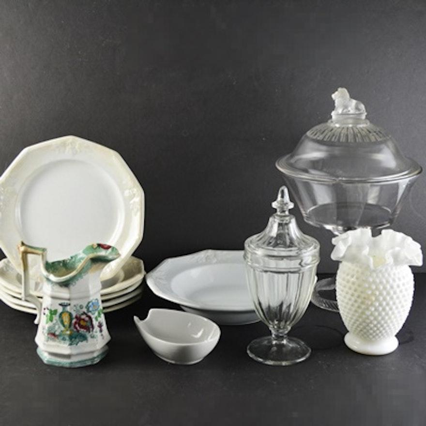 Pressed Glass Compote White Hobnob Vase Wedgwood Ironstone Bowl Ebth