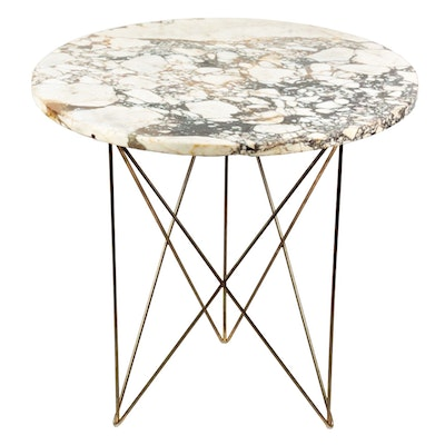 Mid Century White Marble Side Table