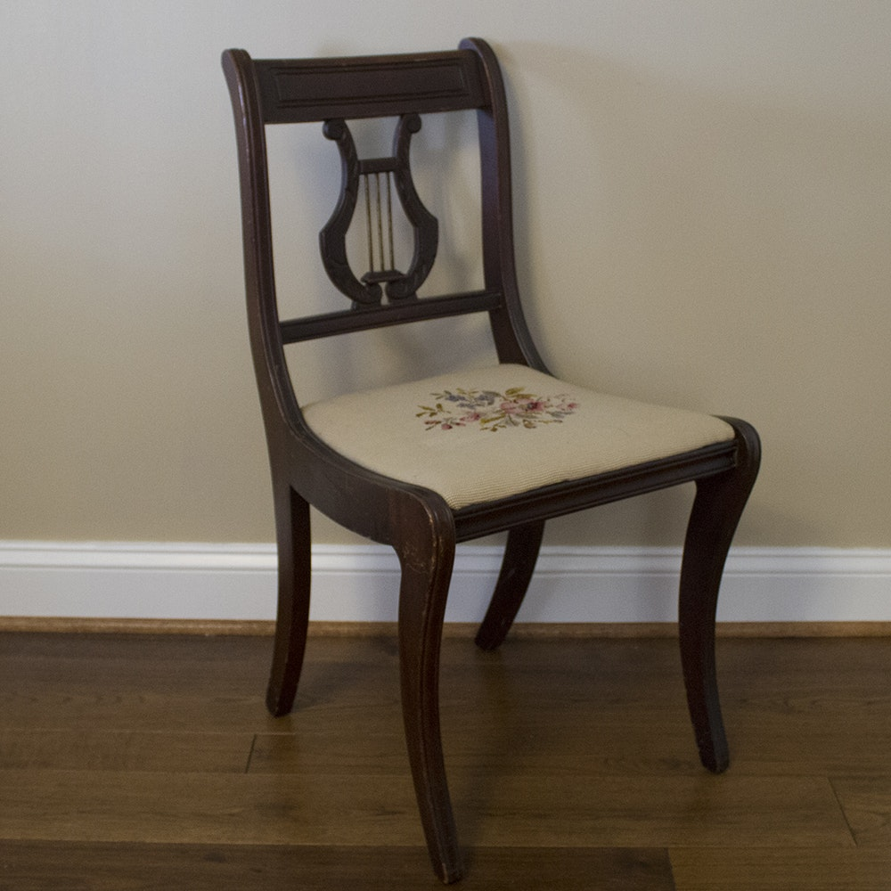 Duncan Phyfe Style Lyre Back Chair With Needlepoint Seat ...