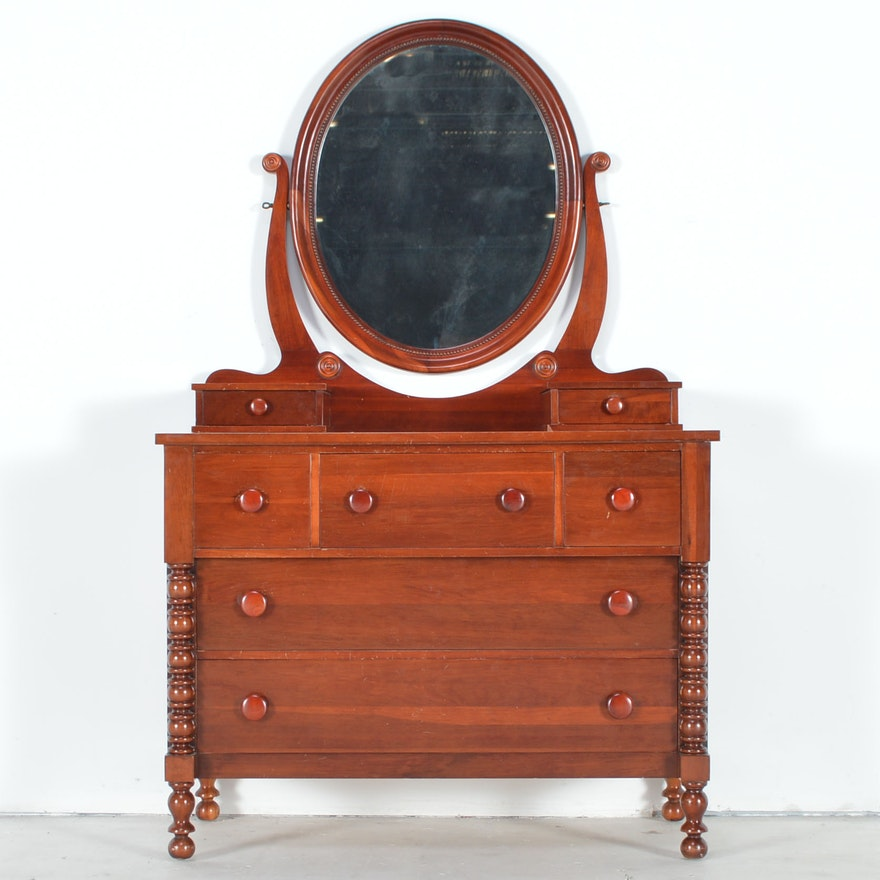 Vintage Davis Cabinet Co Collectors Cherry Empire Style Dresser With Mirror