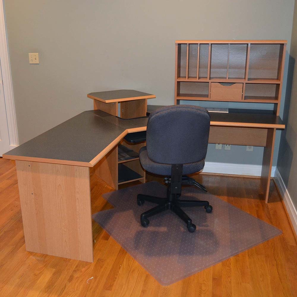 O Sullivan Quot L Quot Workcenter With Floor Mat And Office Chair