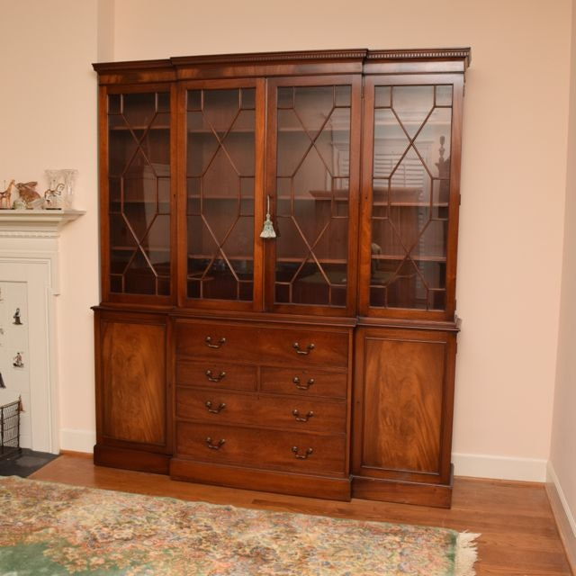 Vintage Chippendale Style Flame Mahogany Veneer Breakfront China Cabinet ...