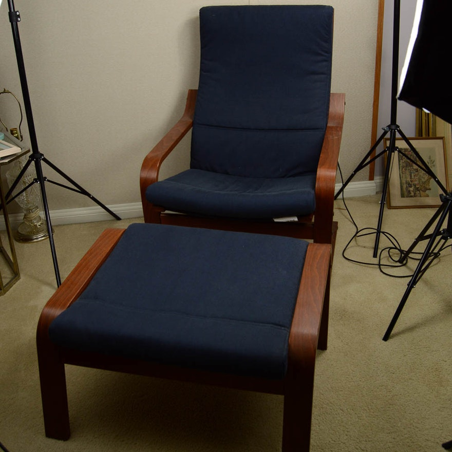 Navy Blue IKEA Arm Chair and Ottoman   EBTH