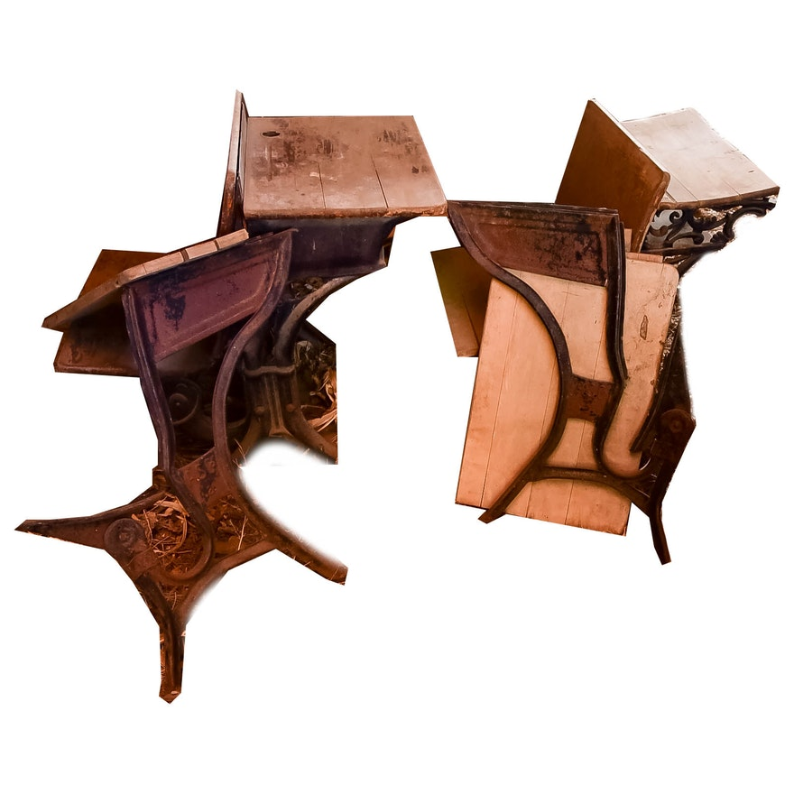 Set of Three Antique School Desks ... - Set Of Three Antique School Desks : EBTH