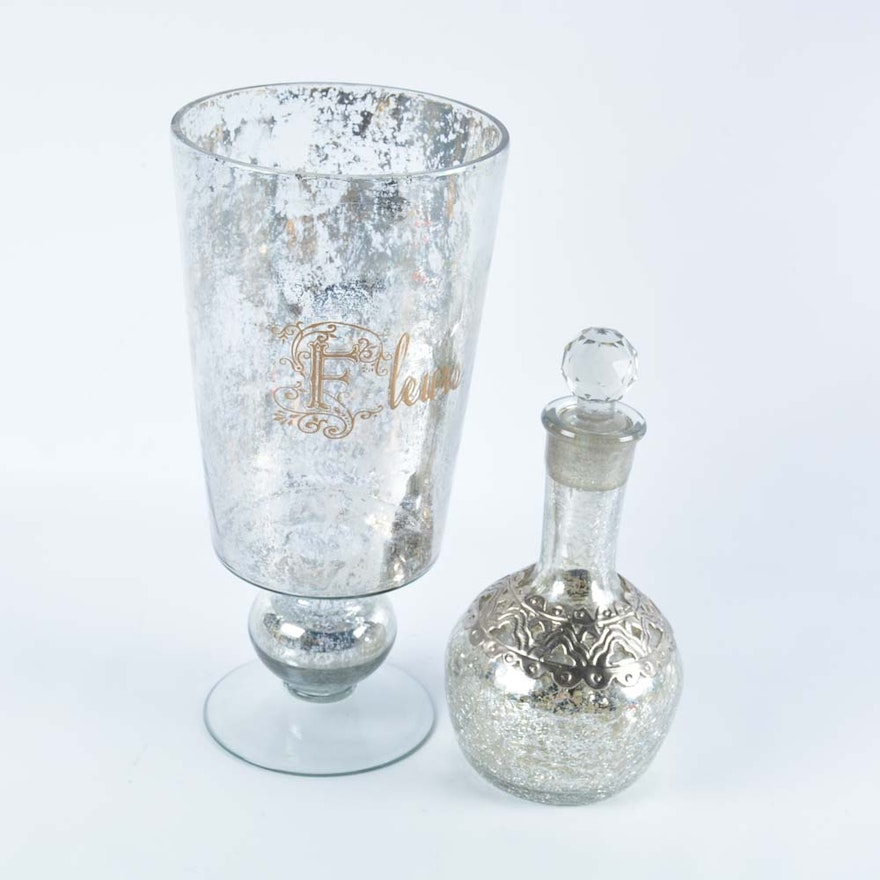 Faux Mercury Glass Vase With Cracked Glass Decanter Ebth