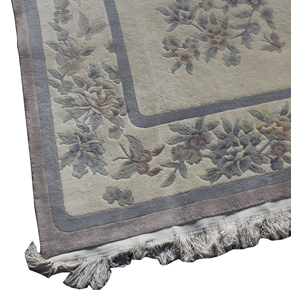 Handwoven Carved Floral Wool Area Rug Ebth