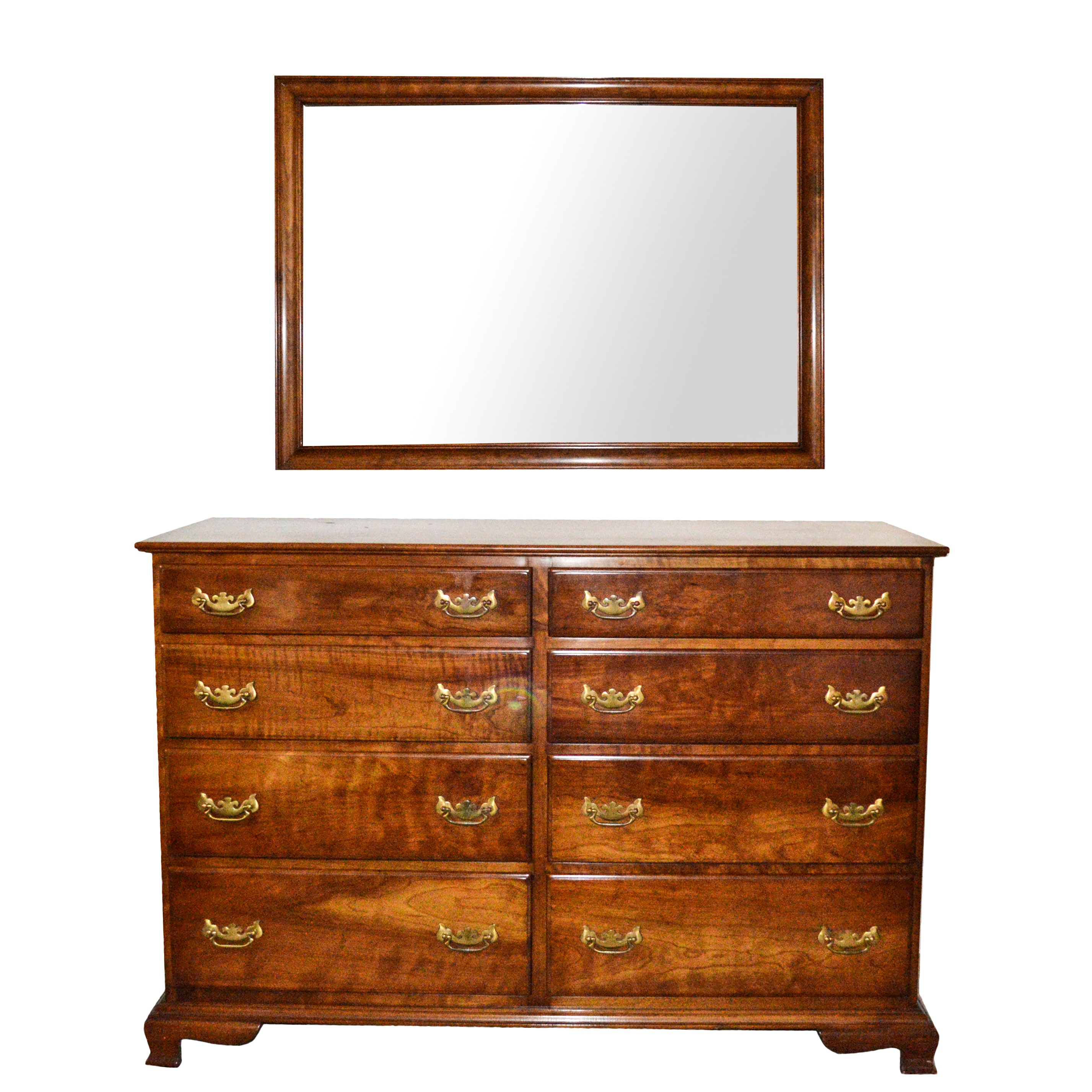 Stickley Cherry Wood Chest of Drawers and Mirror