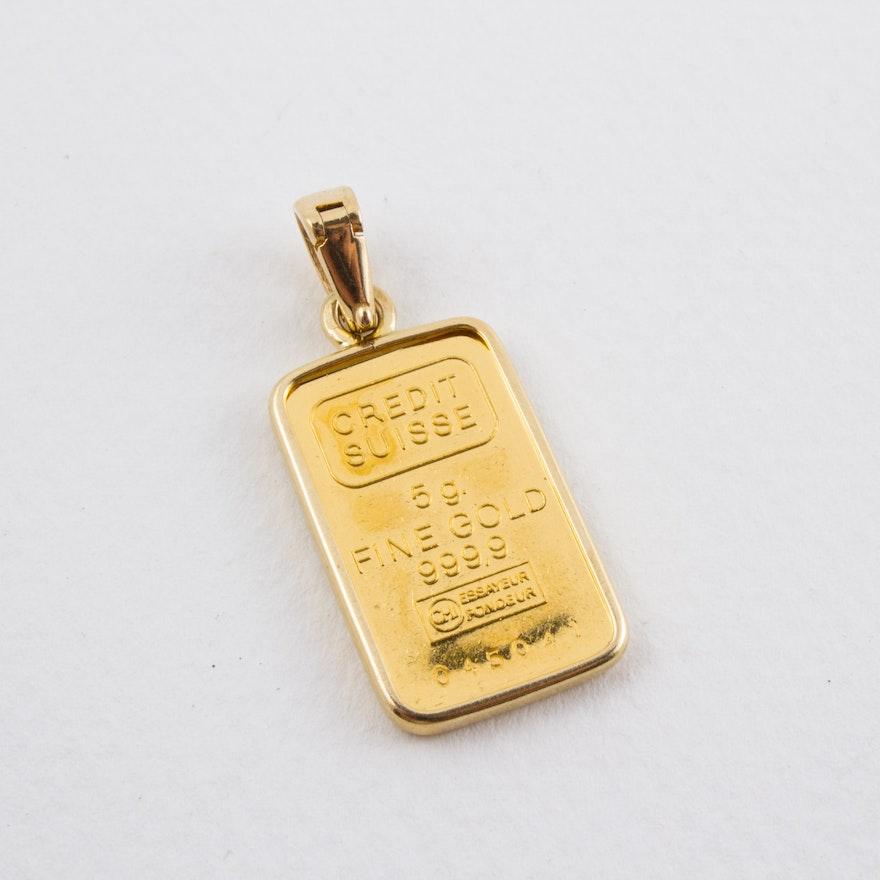 Vintage designer pendants online vintage pendant auction in 24 karat credit suisse gold bar pendant aloadofball Image collections