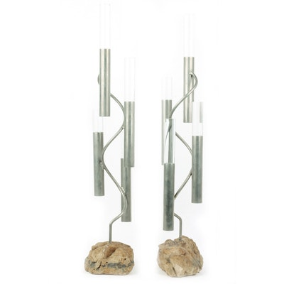 Pair of 1970s Lucite, Metal and Rock Art Scuptures
