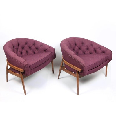 Pair of Milo Baughman Wide Barrel-Back Lounge Chairs