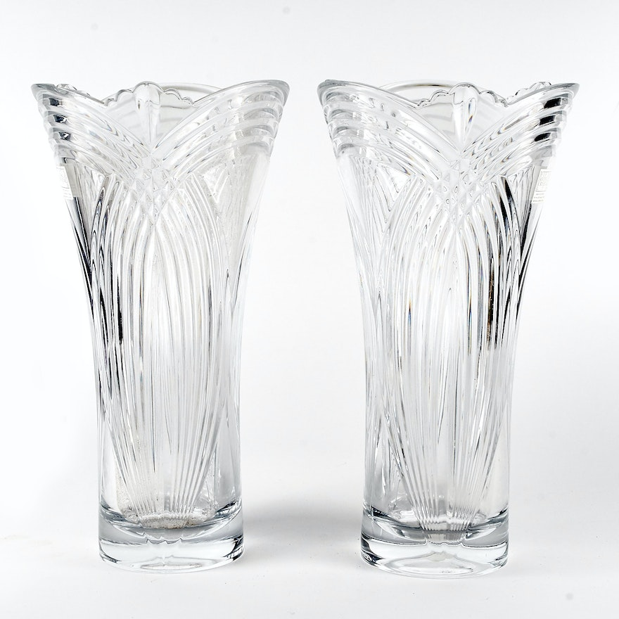 Fifth Avenue Crystal Art Deco Style Vases Ebth