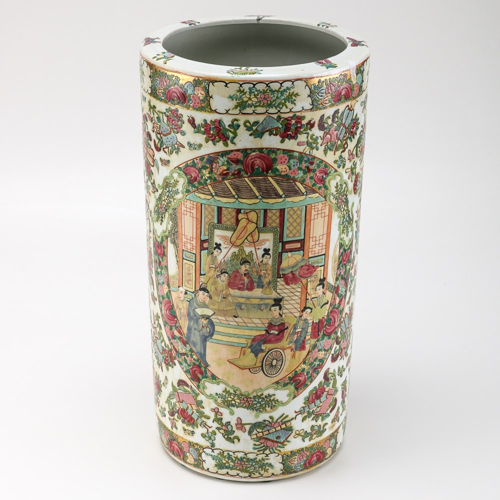 chinese ceramic umbrella holder : ebth Ceramic Umbrella Holder