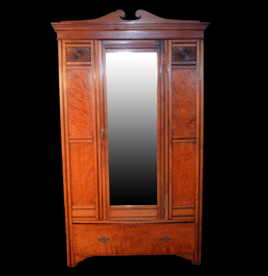 art deco armoire with mirror ebth. Black Bedroom Furniture Sets. Home Design Ideas