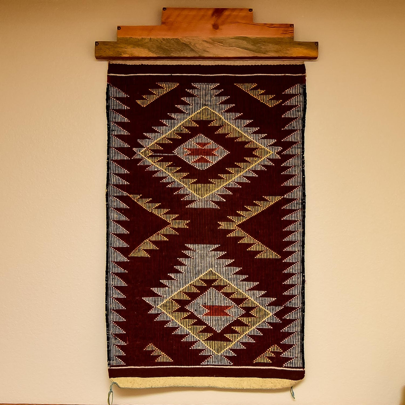 Navajo Rug With A Handcrafted Wood Hanger