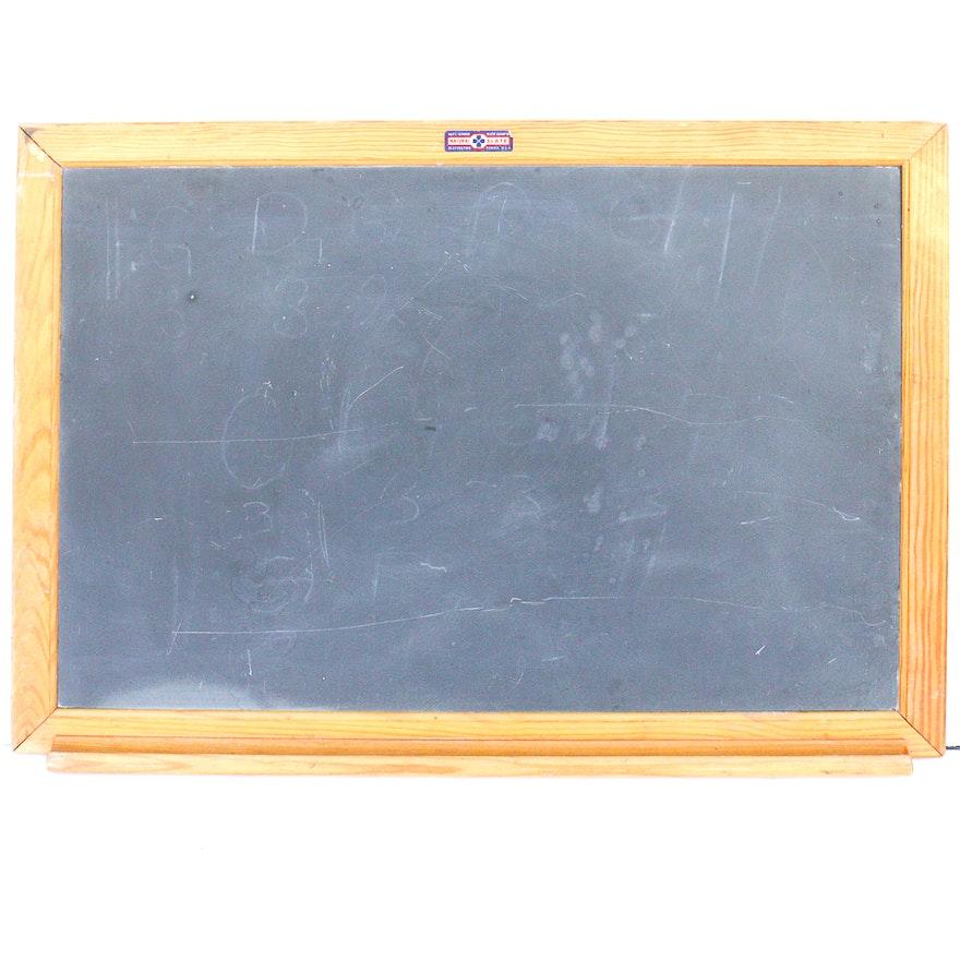 Vintage Framed Slate Chalkboard With Tray : EBTH