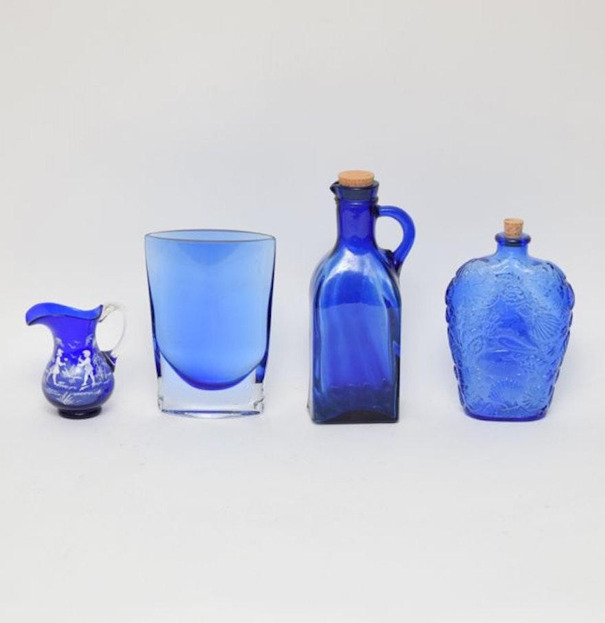 Cobalt Blue Glass Decor Ebth