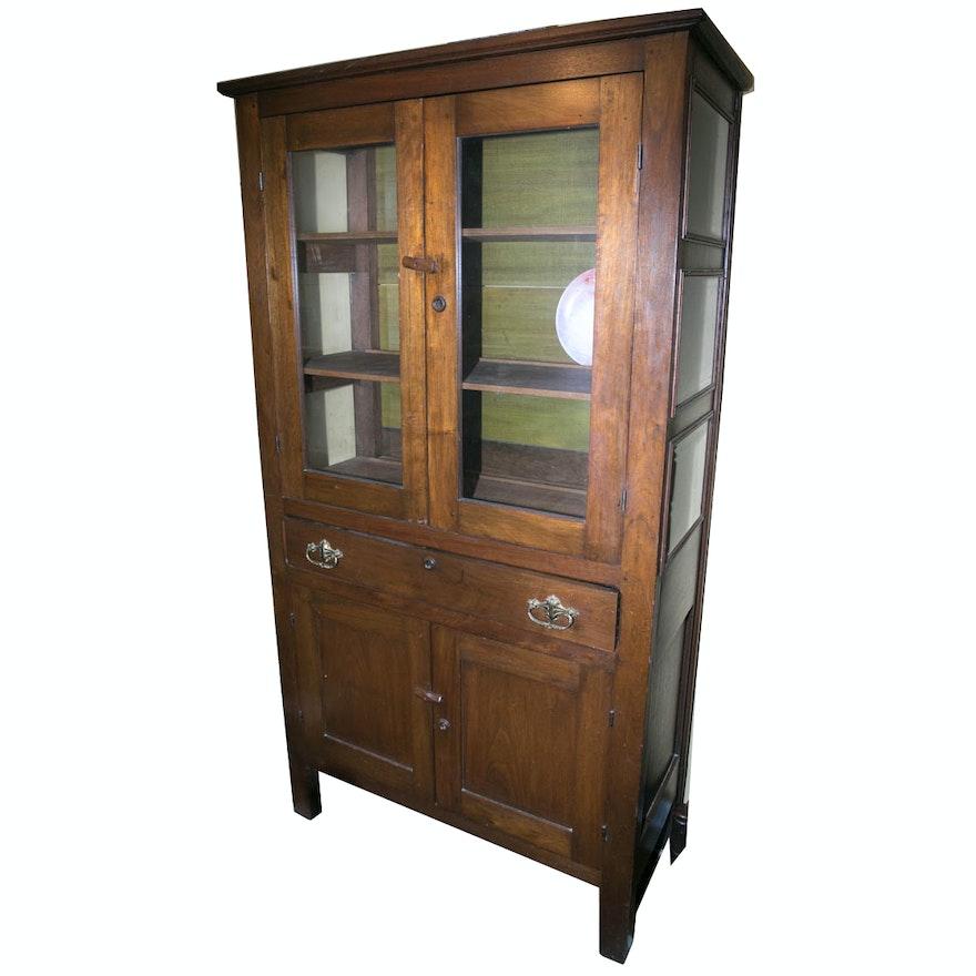 Antique Walnut China Cabinet ... - Antique Walnut China Cabinet : EBTH