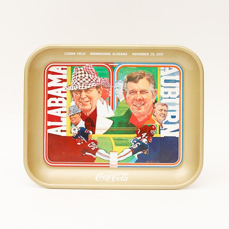 Metal Coca-Cola Tray Commemorating Alabama vs  Auburn on November 29th, 1975