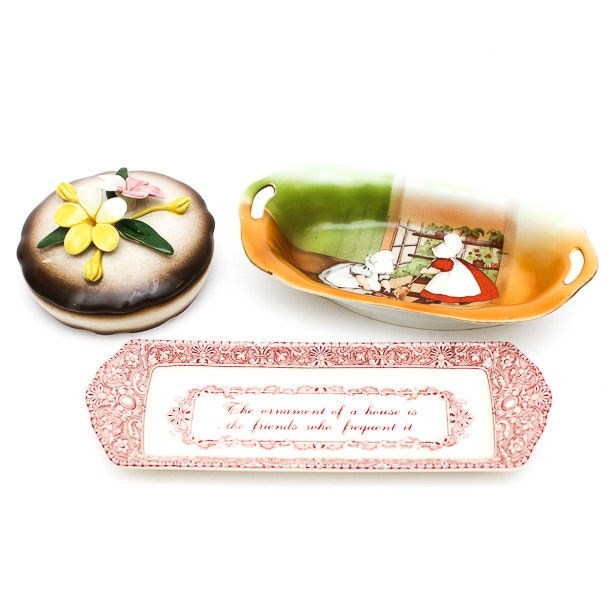 """Royal Bayreuth """"Sun Bonnet Babies"""" Dish with a Spode Tray and Mor"""