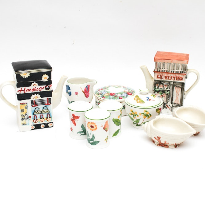 Hand Painted Teapots with Fitz and Floyd Vintage Oceana Votives