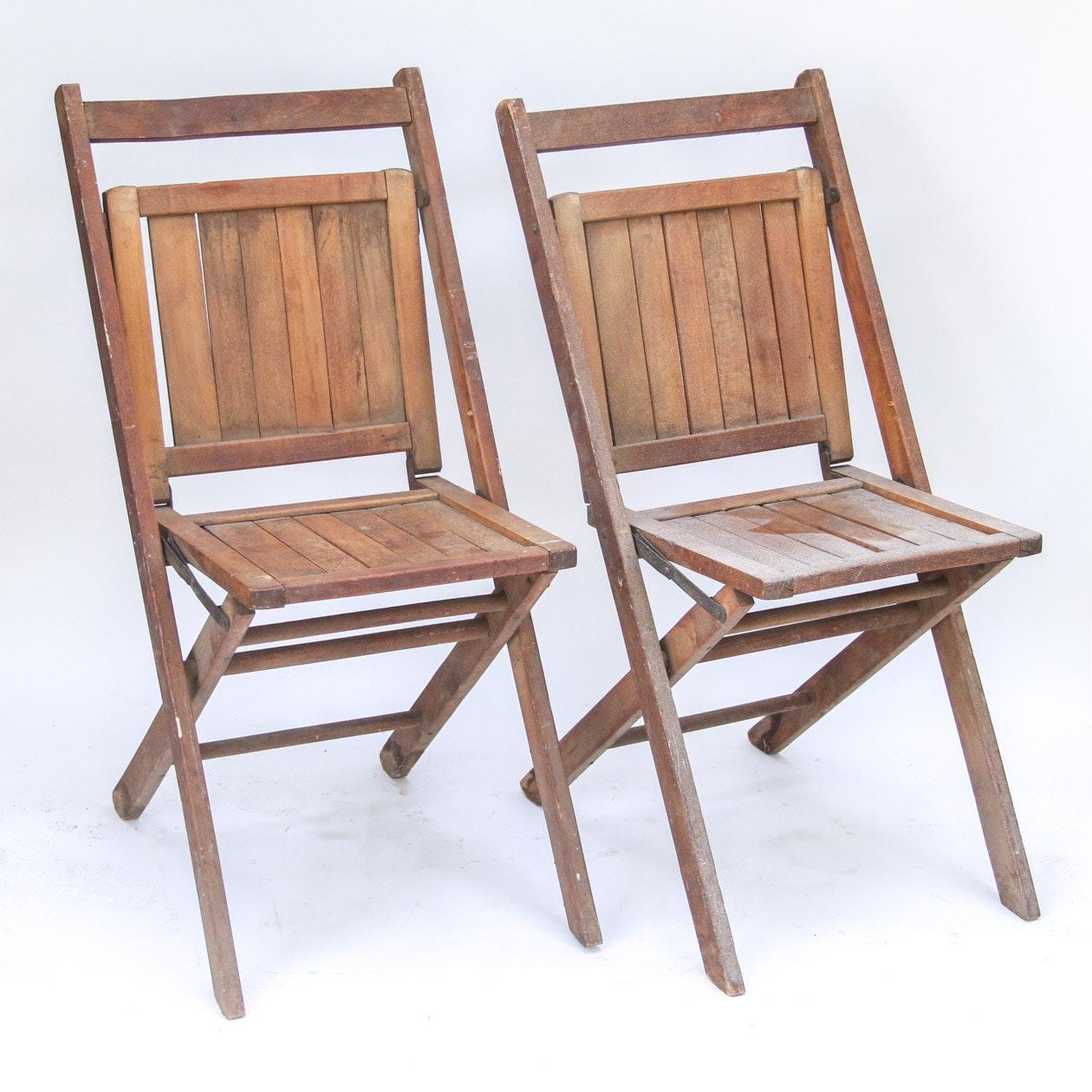 Pair Of Wood Slat Antique Teak Folding Chairs ...