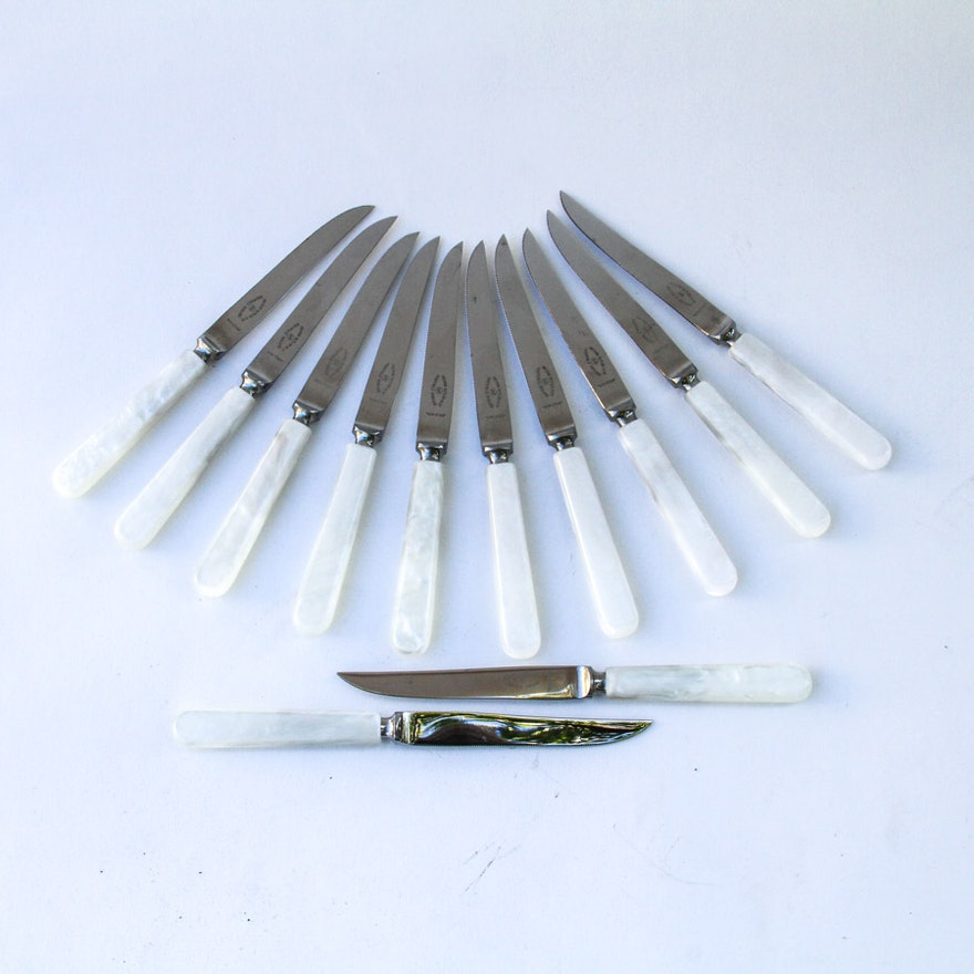 12 Mother of Pearl Handle Knives by George Butler & Co