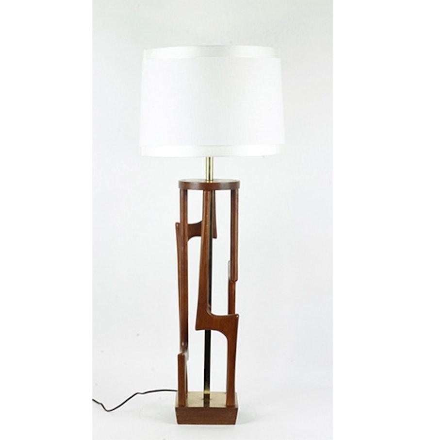 mid century modern teak wood and brass table lamp ebth. Black Bedroom Furniture Sets. Home Design Ideas