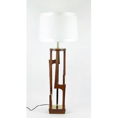 Mid-Century Modern Teak Wood and Brass Table Lamp