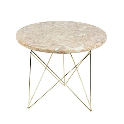 Mid Century Pink Marble Side Table