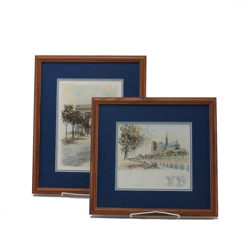 pair of heurily richy works on paper of parisian landmarks ebth