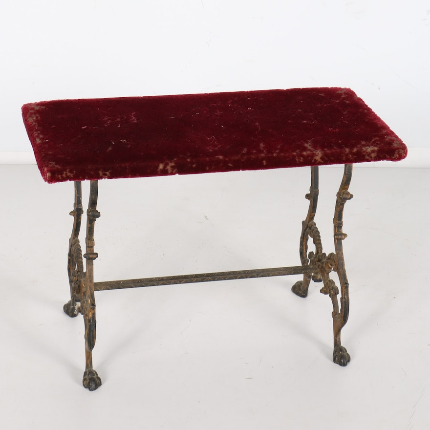 Antique Bench With Velvet Seat And Cast Iron Feet : EBTH