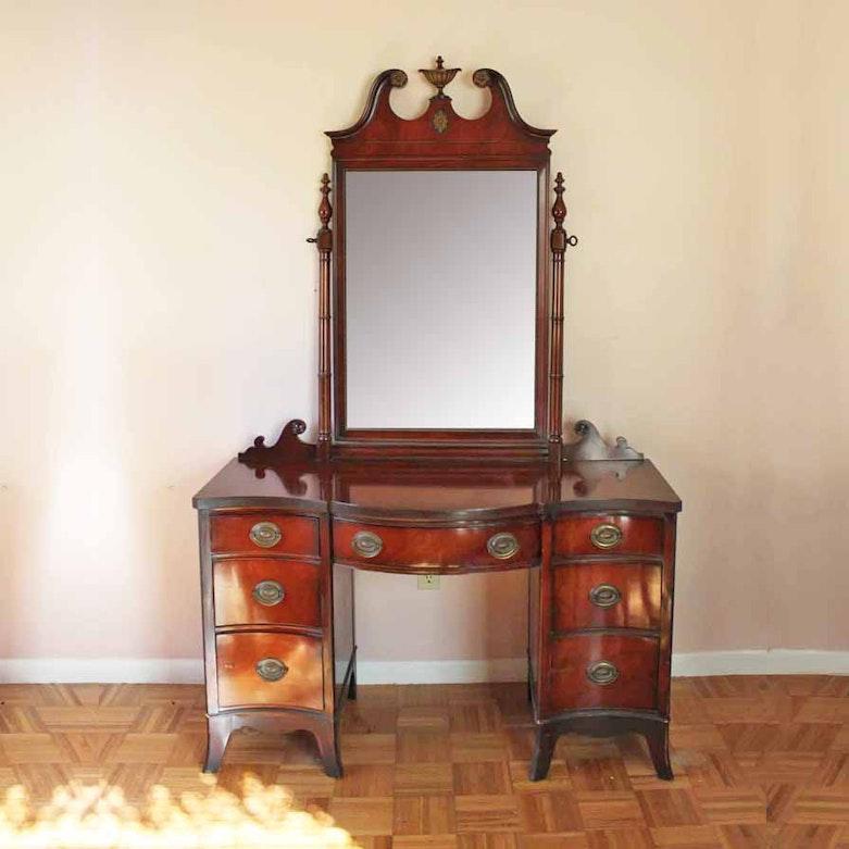 1920s Walnut Vanity With Mirror Ebth