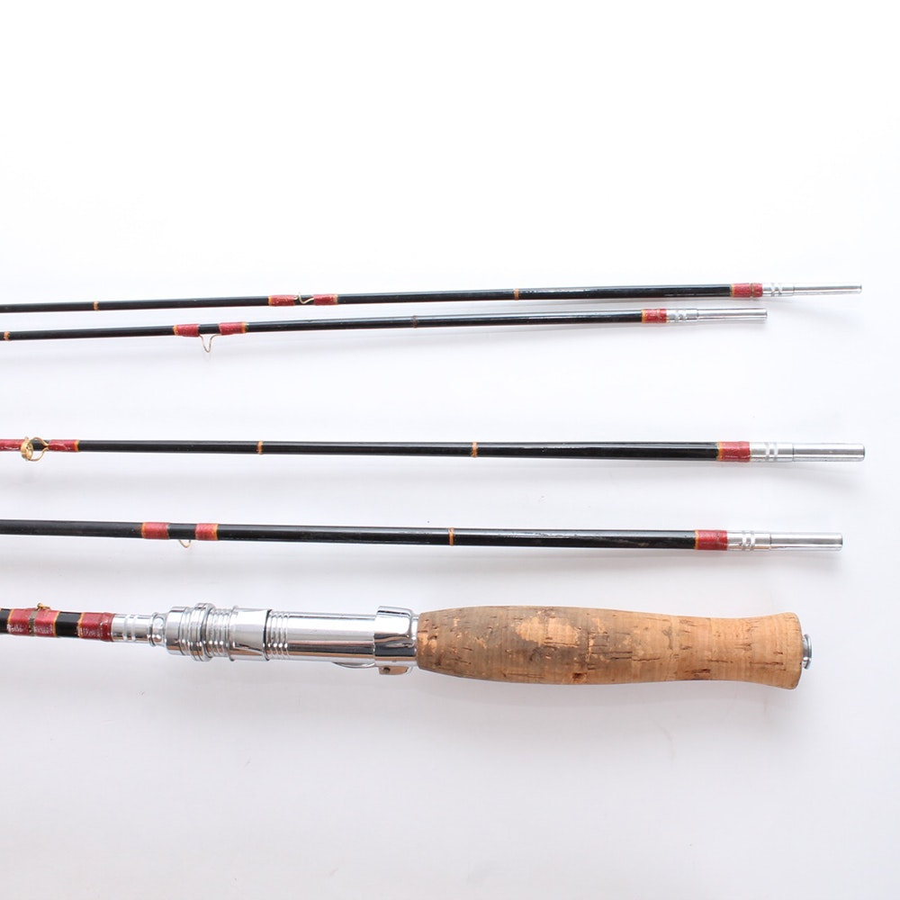 Vintage sakura brand bamboo fly fishing rod and for Fishing rod accessories