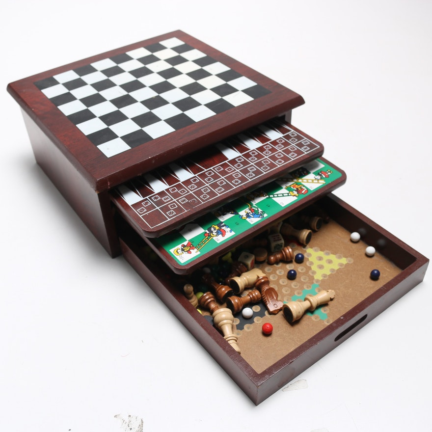 Wooden Multi Board Game Box Ebth