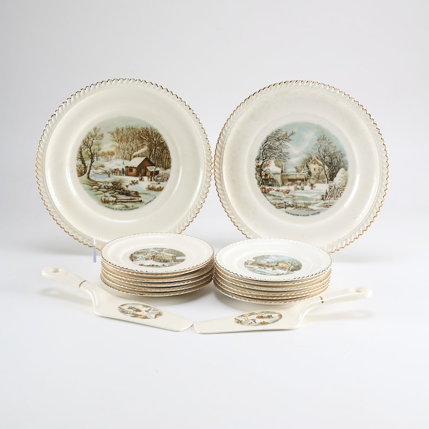 Collection of Harkerware Currier & Ives China : EBTH