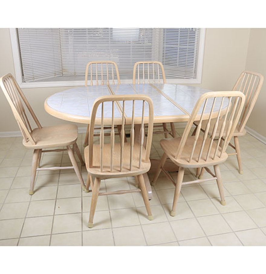 late th century seven piece dining set by dinaire furniture : seven piece dining set