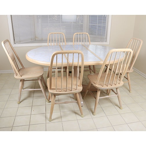 Late 20th Century Seven Piece Dining Set By Dinaire Furniture ...