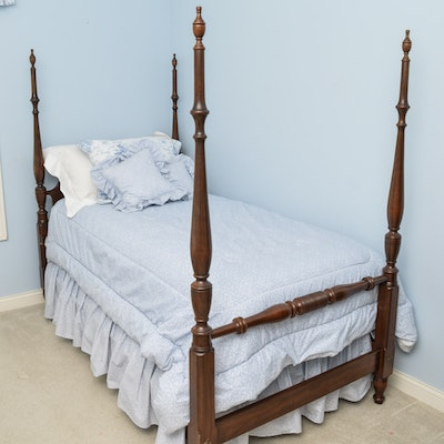 antique solid english walnut four poster bed ebth. Black Bedroom Furniture Sets. Home Design Ideas