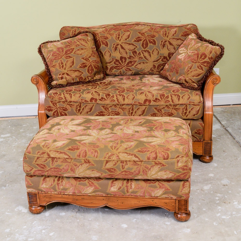 Pennsylvania House Oak Veneer And Cane Settee With Ottoman