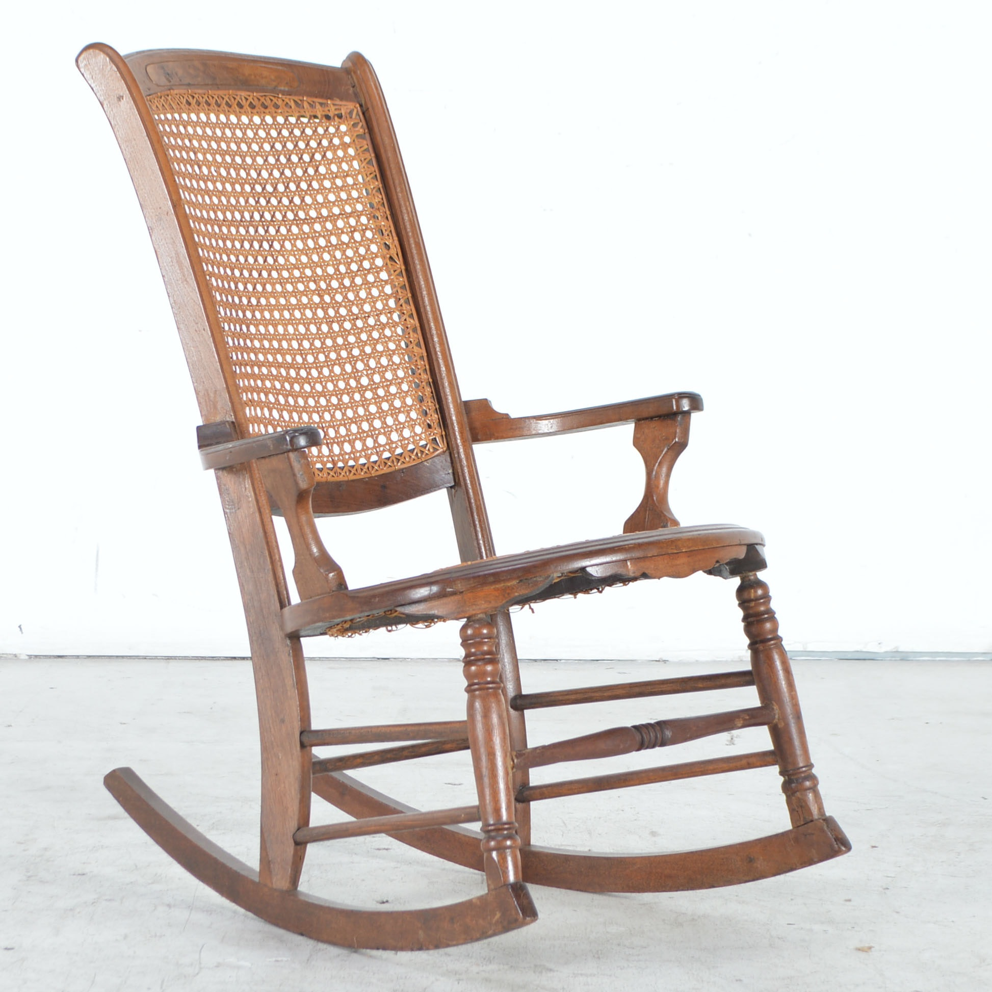 Antique Walnut Rocking Chair with Caned Back and Seat ...  sc 1 st  EBTH.com & Antique Walnut Rocking Chair with Caned Back and Seat : EBTH